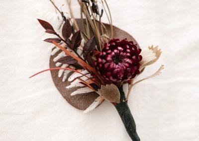 Buttonhole Burgundy Strawflower